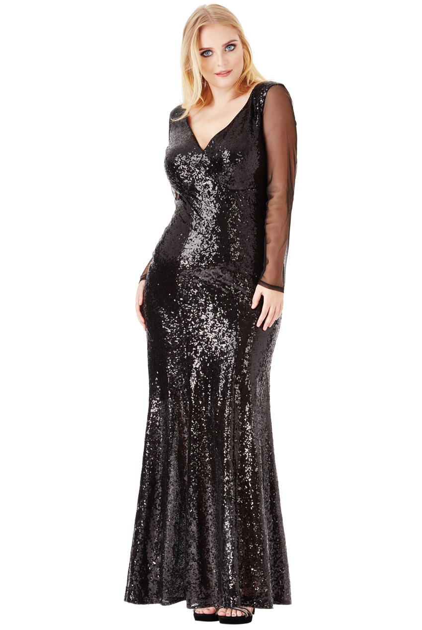 Wholesale Plus Size V Neck Sequin Maxi Dress with Long Sleeves