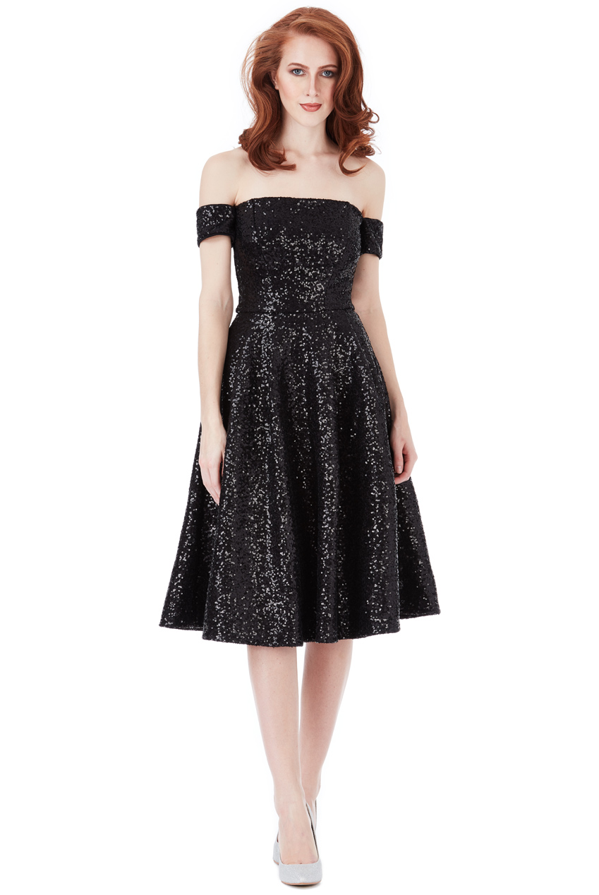 Wholesale Sequin Bardot Midi Dress