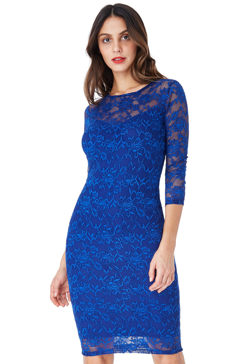 Wholesale All Over Lace Midi Pencil Dress with 3/4 Sleeves