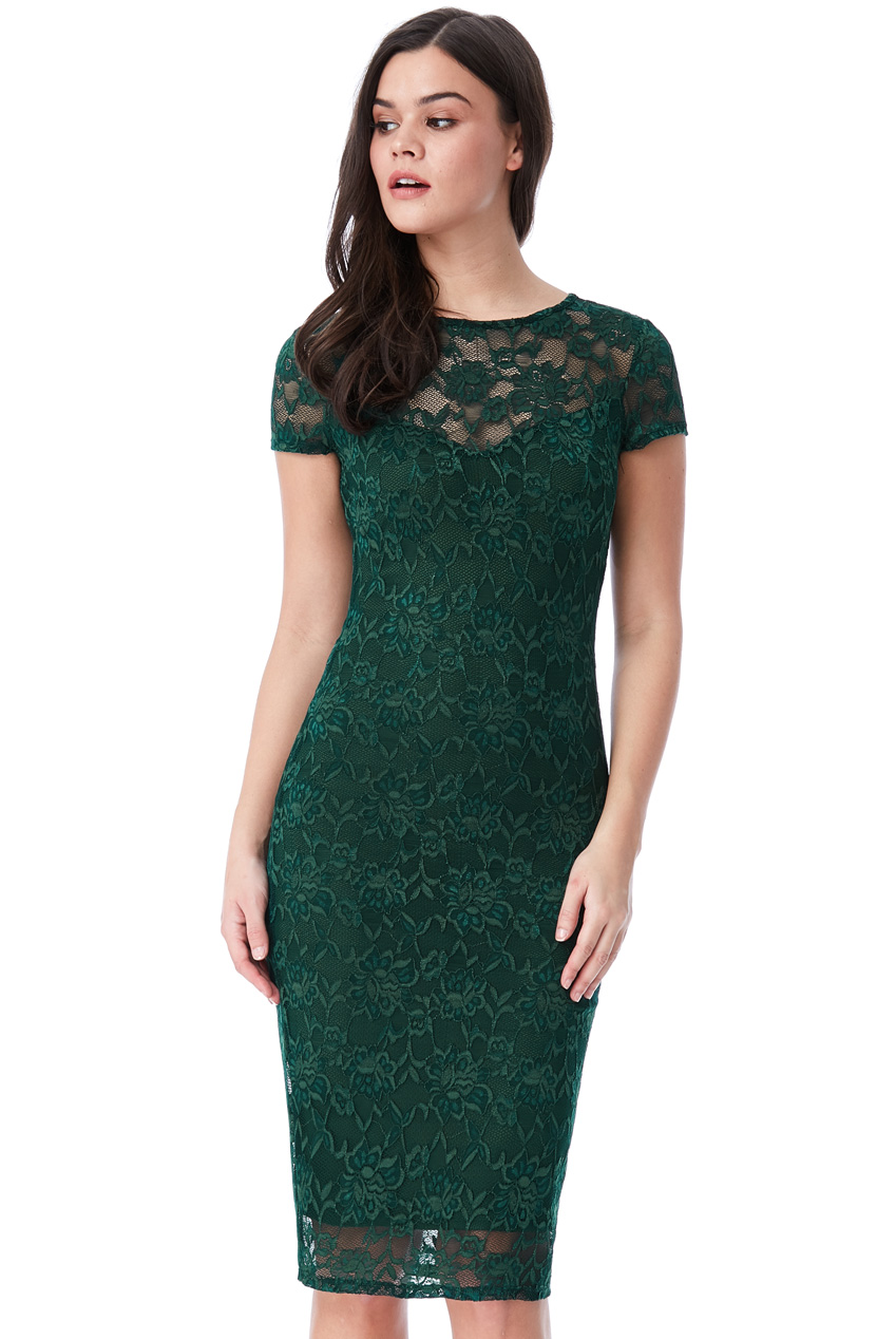 Wholesale Lace Midi Dress with Keyhole Back