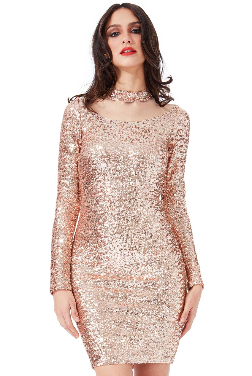 Wholesale High Neck Cut Out Sequin Midi Dress