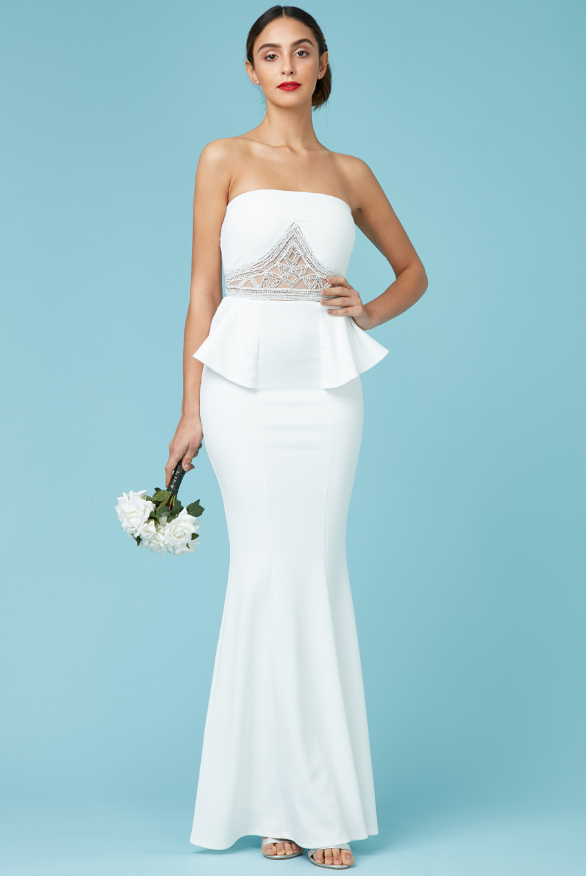 Wholesale Embellished Peplum Maxi Wedding Dress