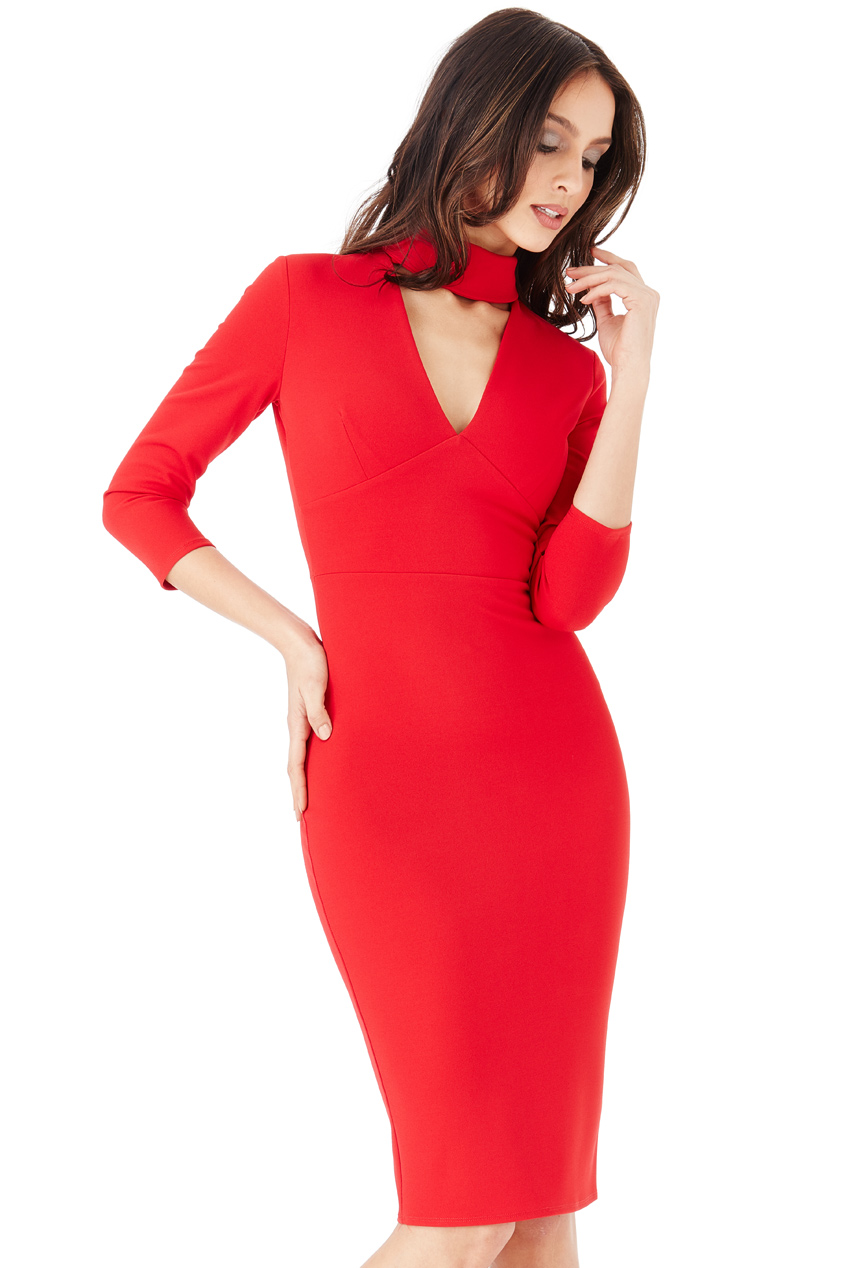 Wholesale High Neck V Cut Out Midi Dress with Three Quarter Sleeves