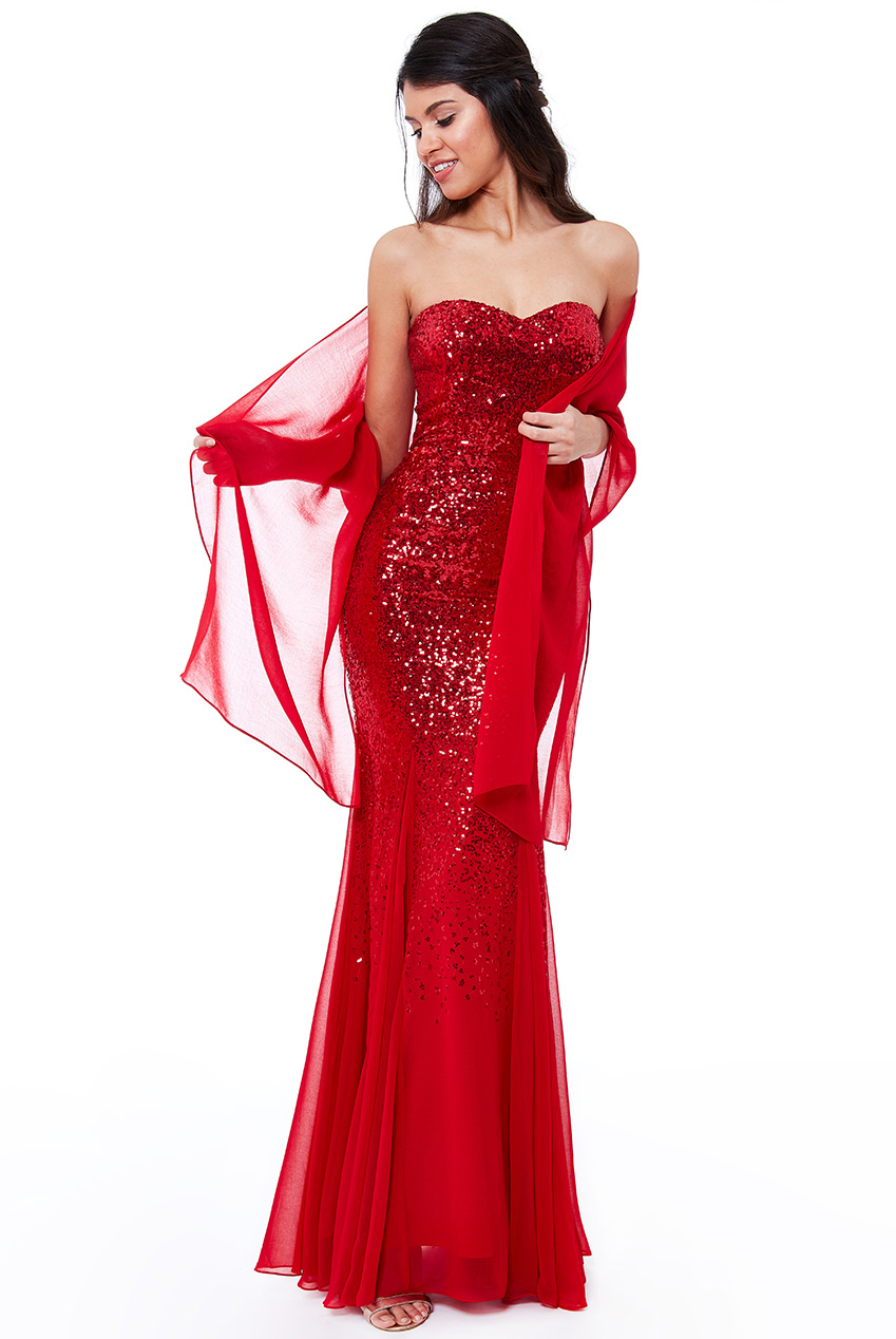 Wholesale Bandeau Sequin and Chiffon Maxi Dress with Scarf