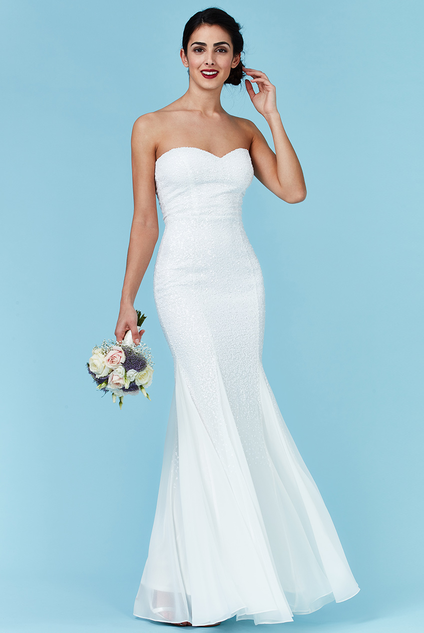 Wholesale Bandeau Sequin and Chiffon Maxi Wedding Dress