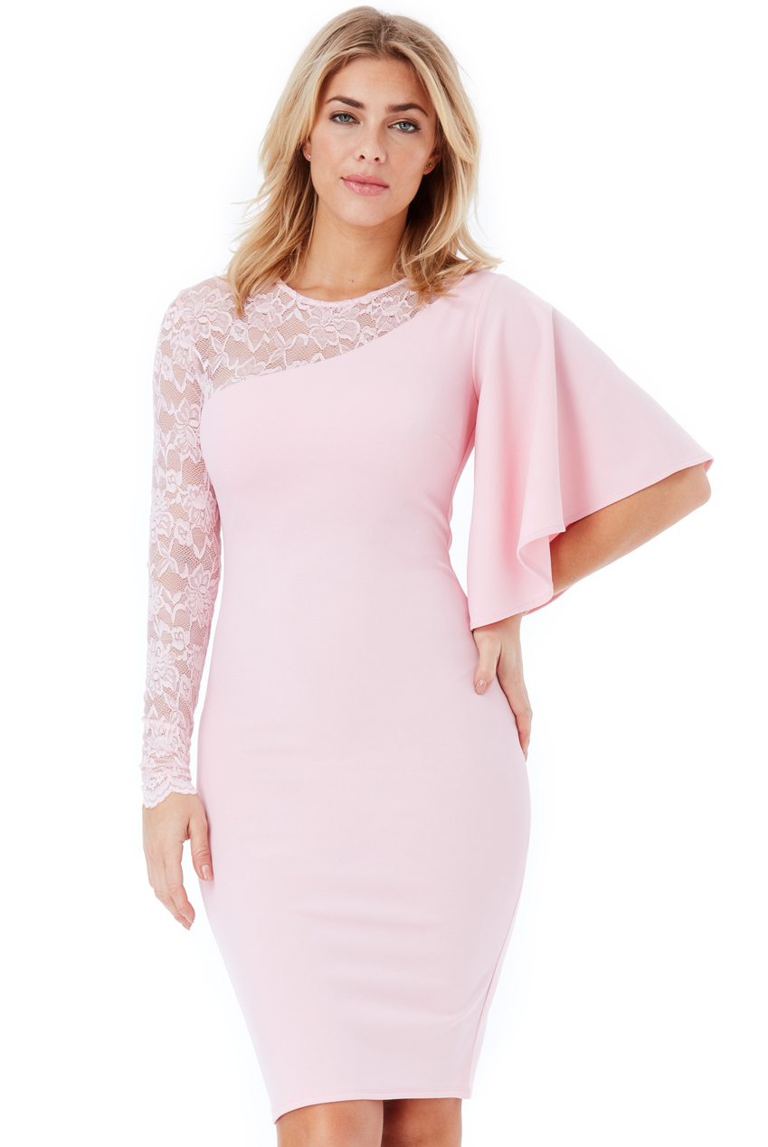 Wholesale Asymmetric Sleeve Midi Dress with Lace Detail