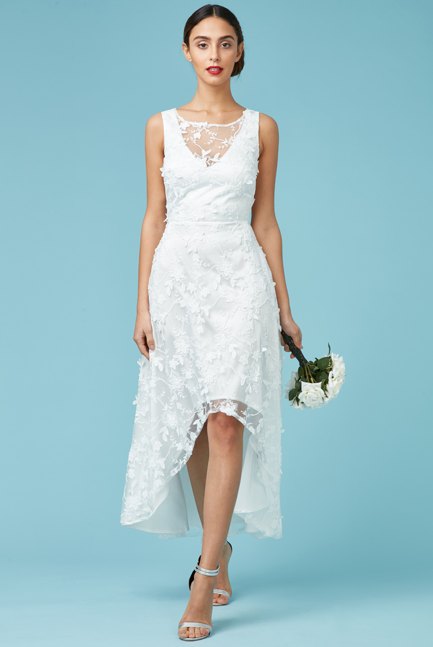 Wholesale Floral Lace Asymmetric Wedding Dress