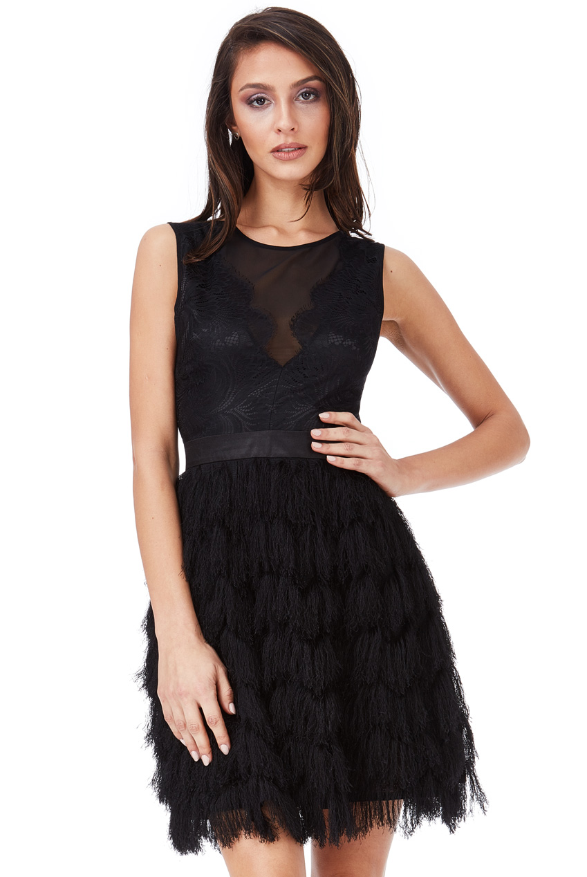 Wholesale Fringed Mini Dress with Lace Detail