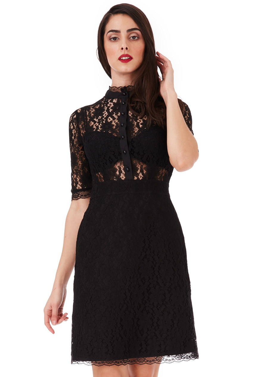 Wholesale Lace Shirt Dress with Scallop Detail
