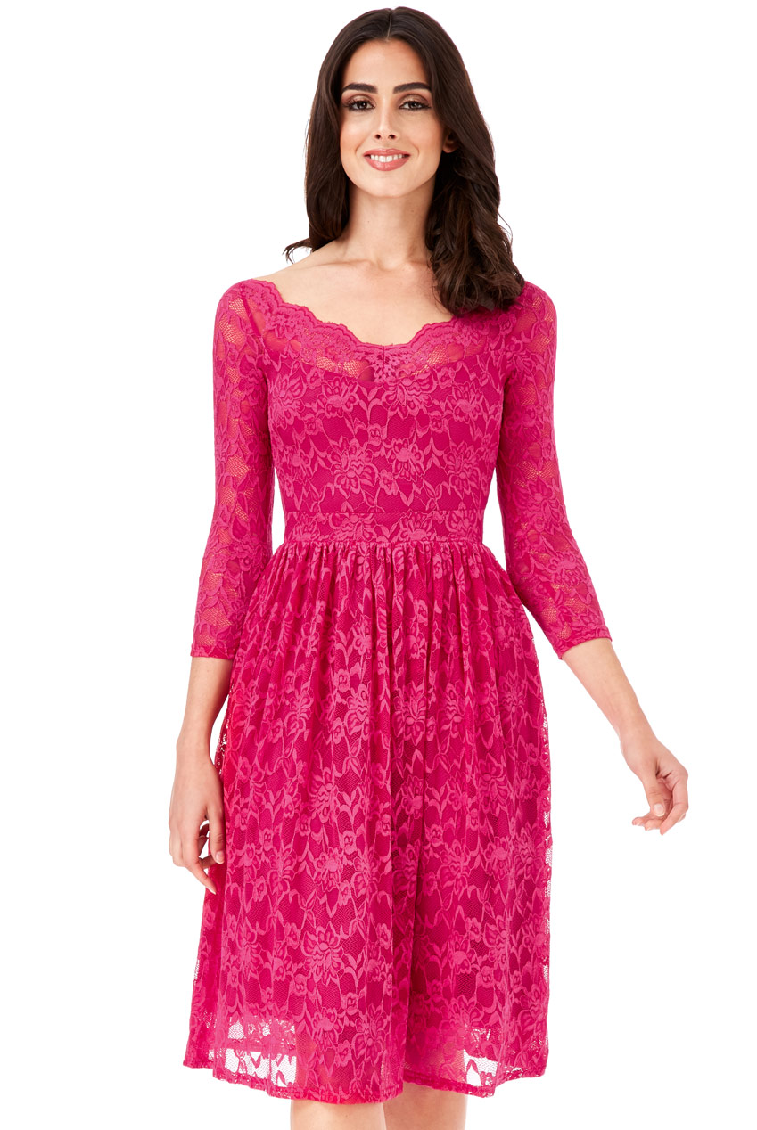 Wholesale Three Quarter Sleeved Lace Midi Dress
