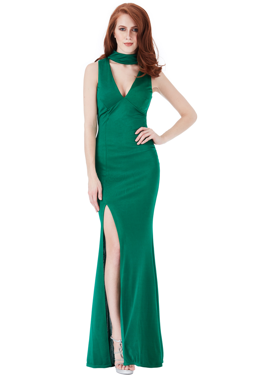 Wholesale V Cutout High Neck Maxi Dress with Split Detail