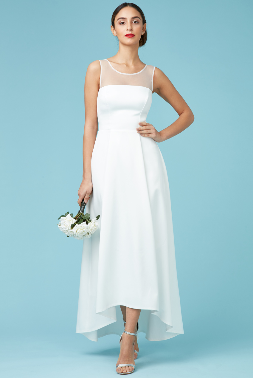 Wholesale Sleeveless Satin Maxi Wedding Dress with Mesh Detail
