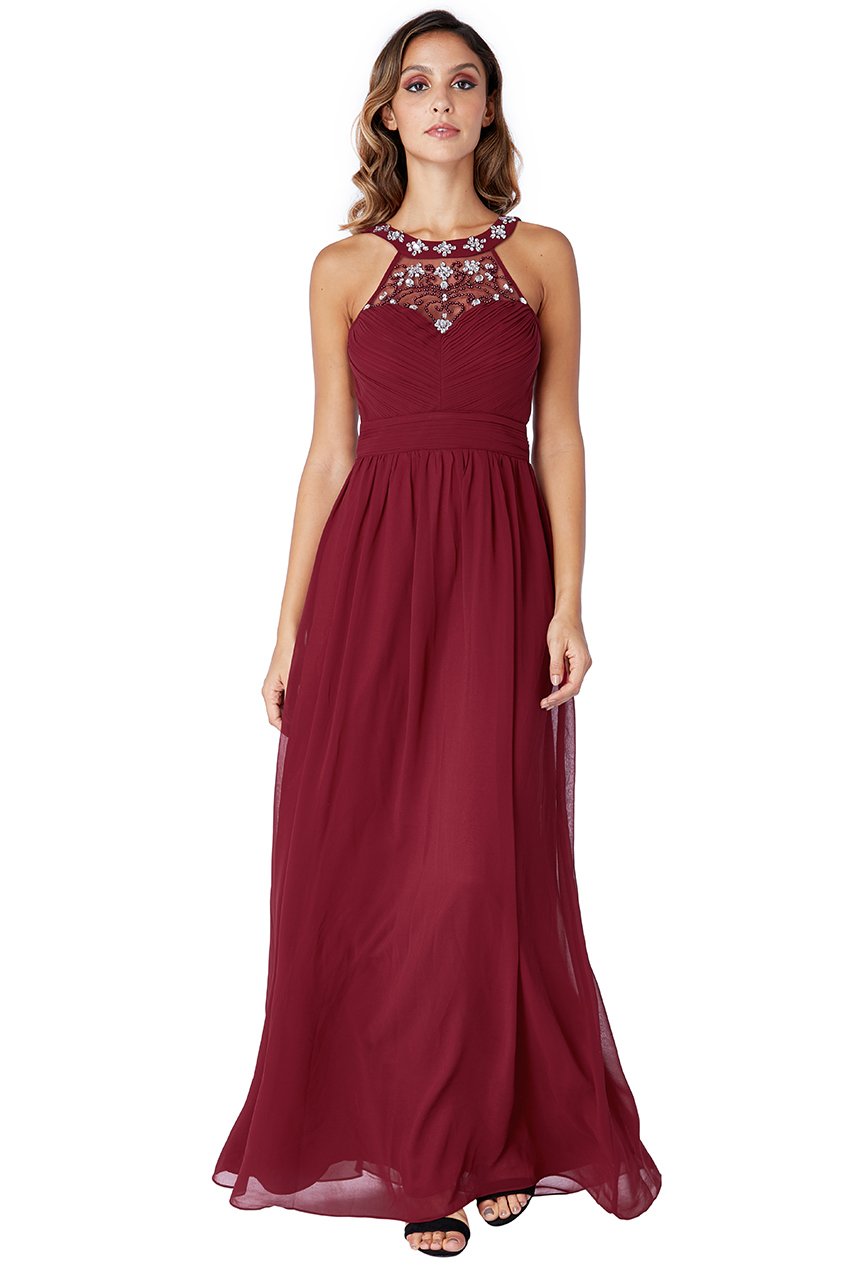 Wholesale Embellished Chiffon Maxi Dress with Scarf