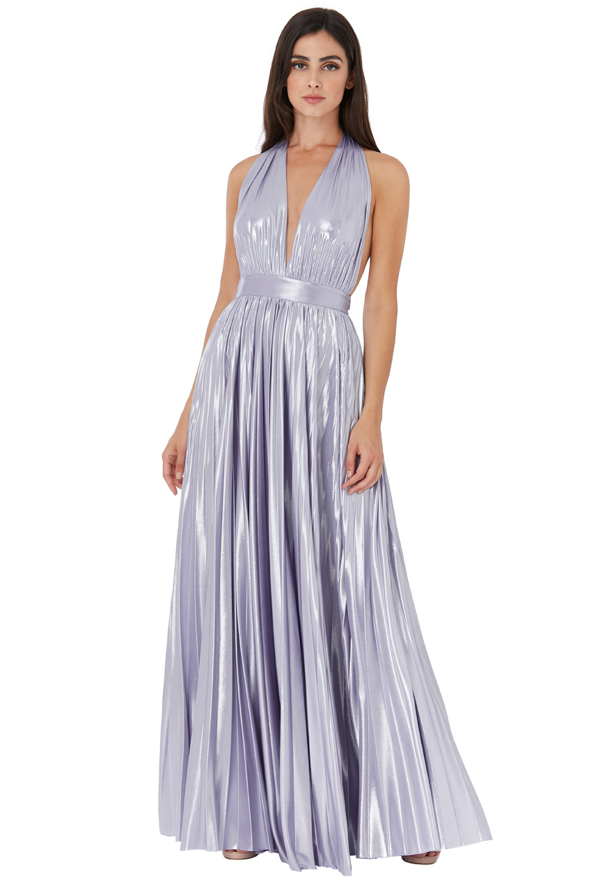Wholesale Deep V Neck Metallic Maxi Dress