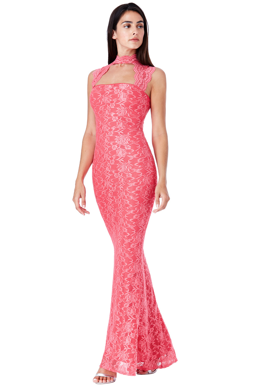 Wholesale High Neck Cut Out Lace Maxi Dress