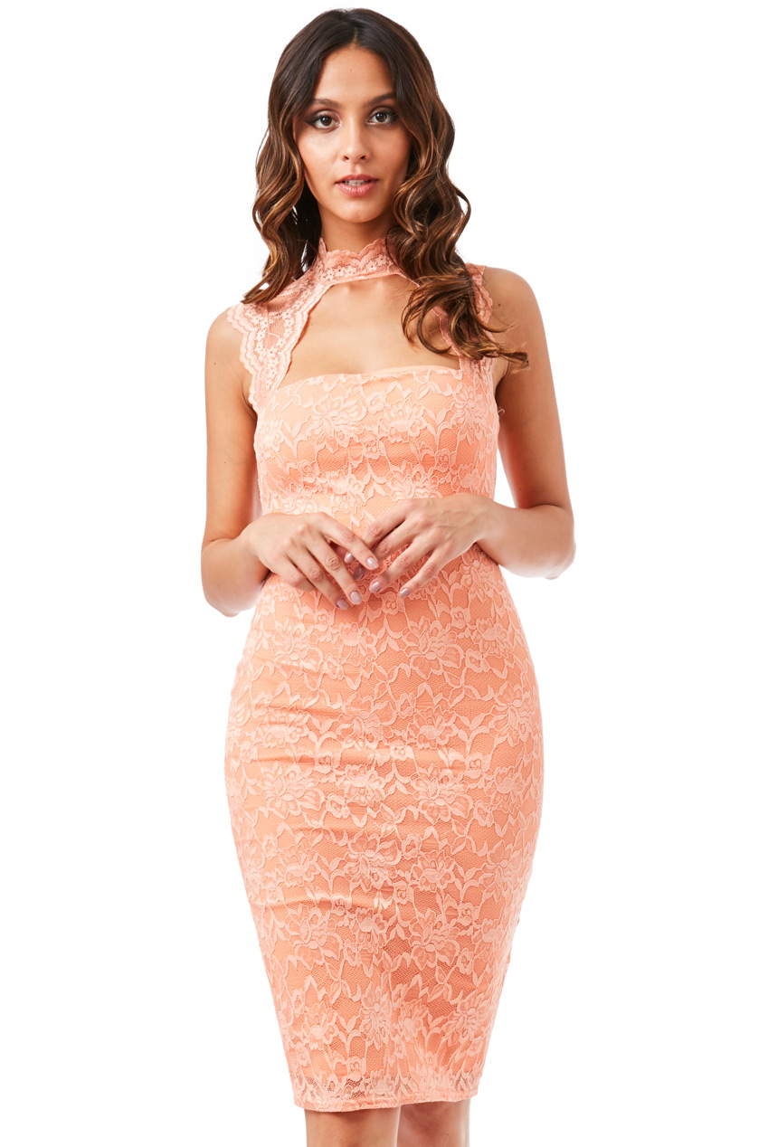 Wholesale High Neck Cut Out Lace Midi Dress