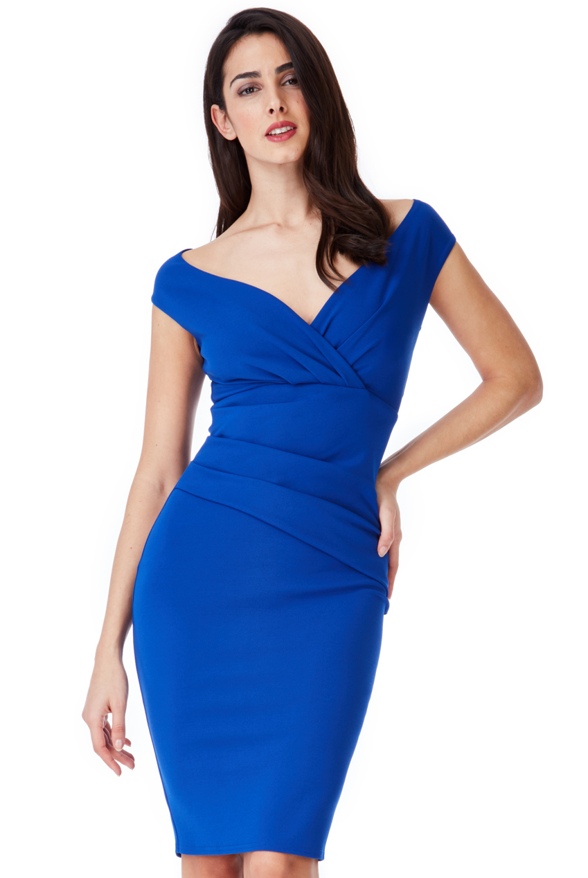 Wholesale Bardot Pleated Midi Dress