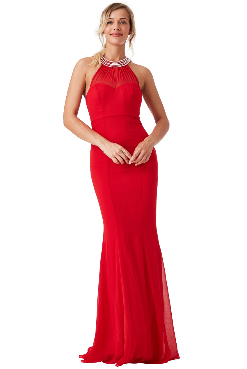 Wholesale Embellished Neckline Fishtail Maxi Dress