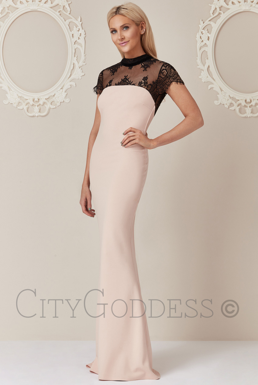 Wholesale Stephanie Pratt Open Back Maxi Dress with Lace Detail