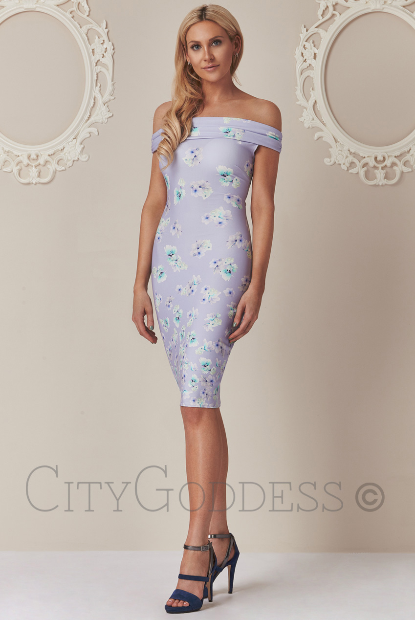 Wholesale Stephanie Pratt Floral Bardot Bodycon Dress