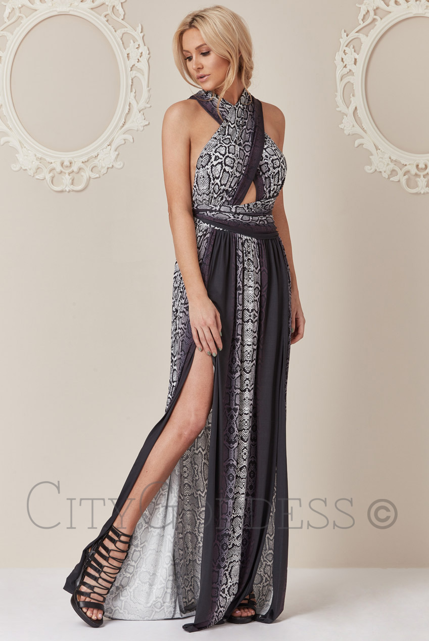 Wholesale Stephanie Pratt Multi Way Snake Print Maxi Dress