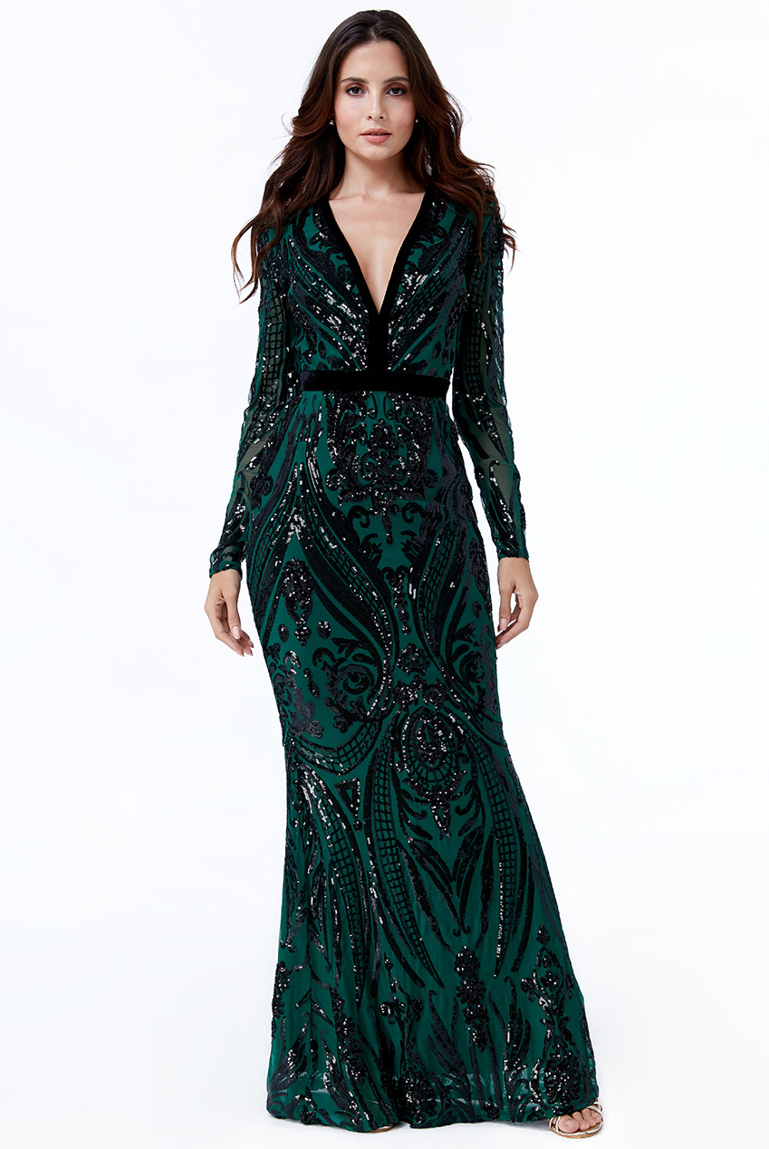 Wholesale Deep V Neck Sequin Embroidered Maxi Dress