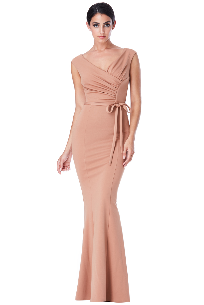 Wholesale Pleated Maxi Dress with Tie Detail