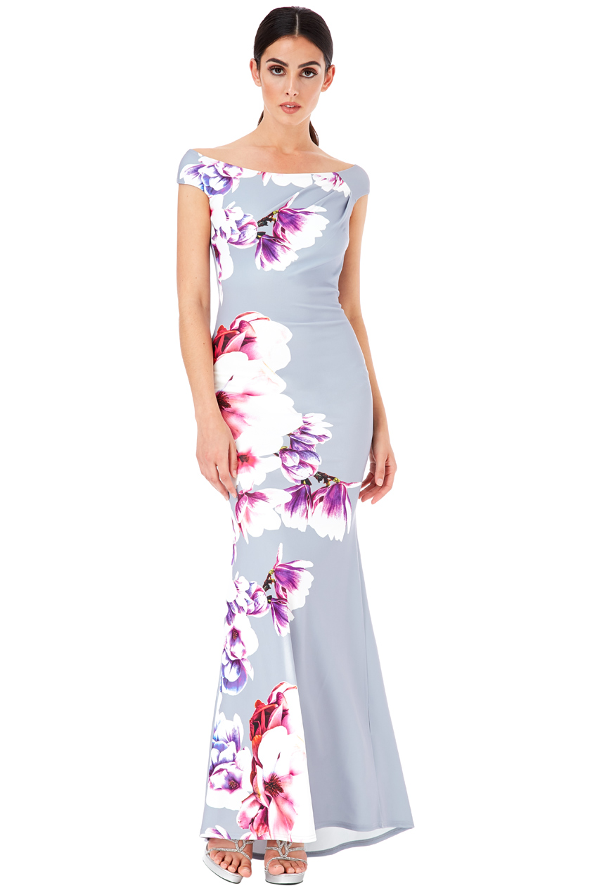 Wholesale Floral Print Maxi Dress with Pleating Detail
