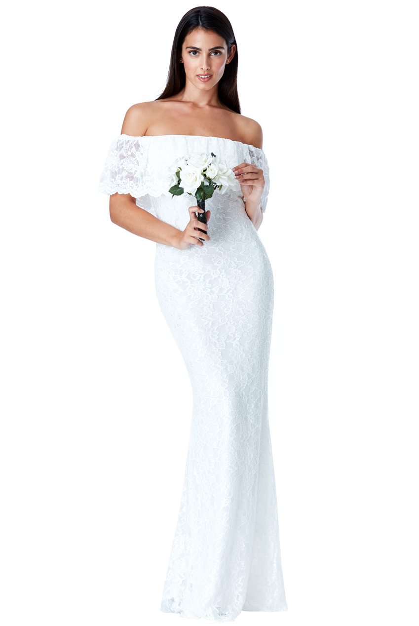 Wholesale Bardot Lace Maxi Wedding Dress