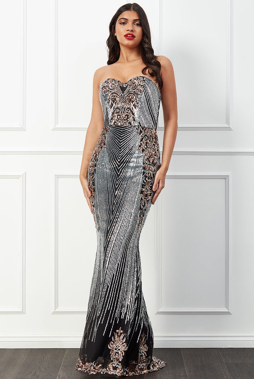 Wholesale Stephanie Pratt – Sweetheart Neckline Sequin Embroidered Maxi Dress