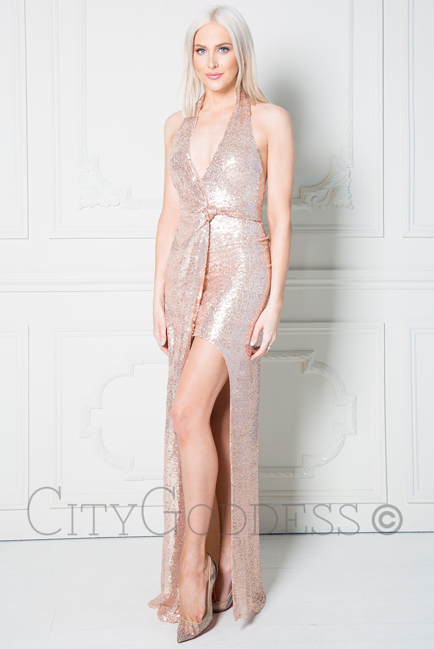 Wholesale Stephanie Pratt – Halter Neck Sequin Maxi Dress with Split Detail