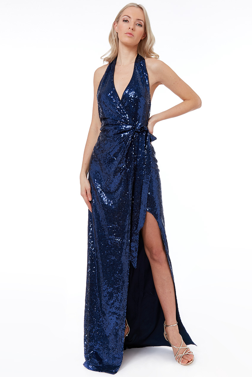 Wholesale Halter Neck Sequin Maxi Dress with Split Detail