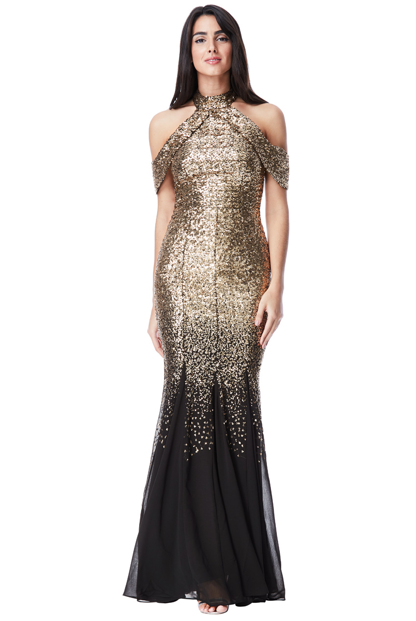 Wholesale Cut Out Sequin and Chiffon Maxi Dress