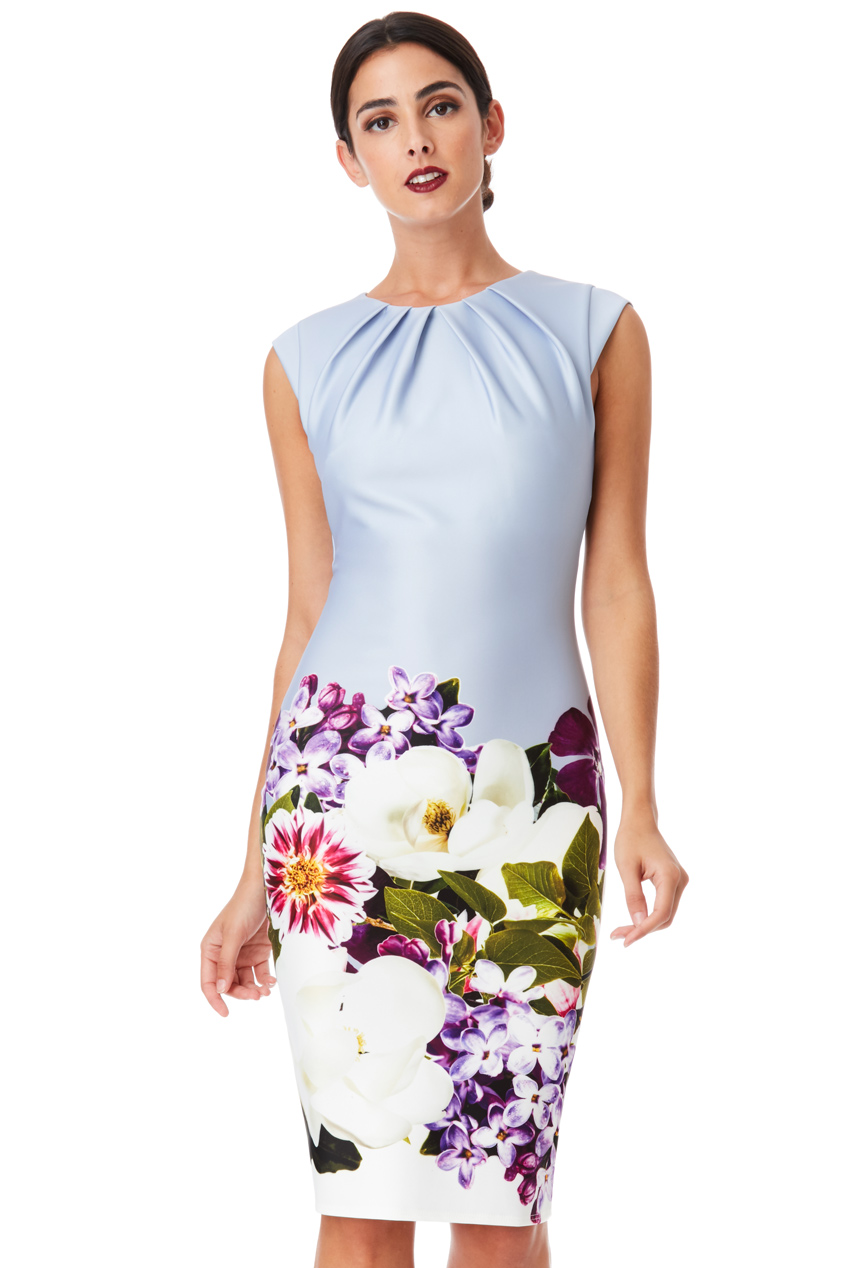 Wholesale Digital Floral Print Midi Dress with Pleating Detail