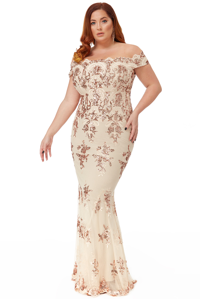 Wholesale Plus Size Scalloped Neck Sequin and Lace Maxi Dress