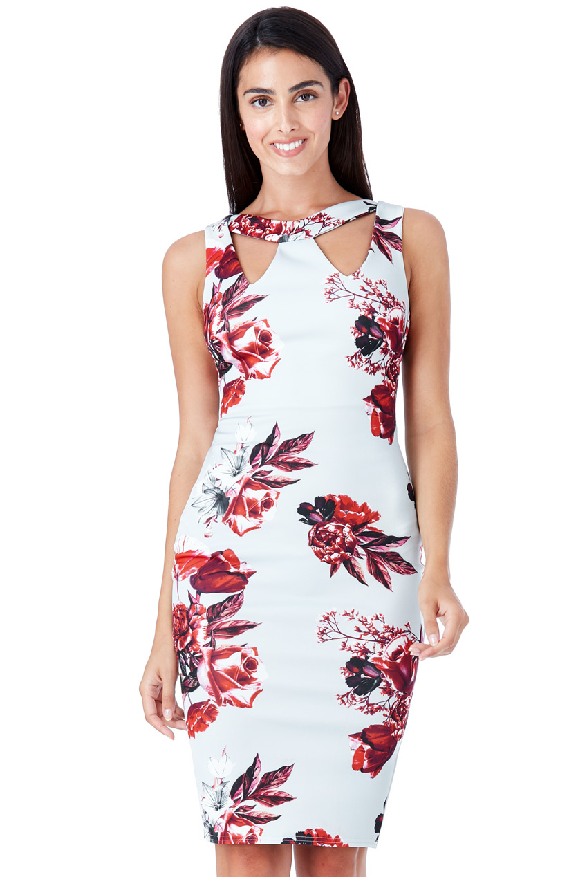 Wholesale Floral Print Cut Out Midi Dress
