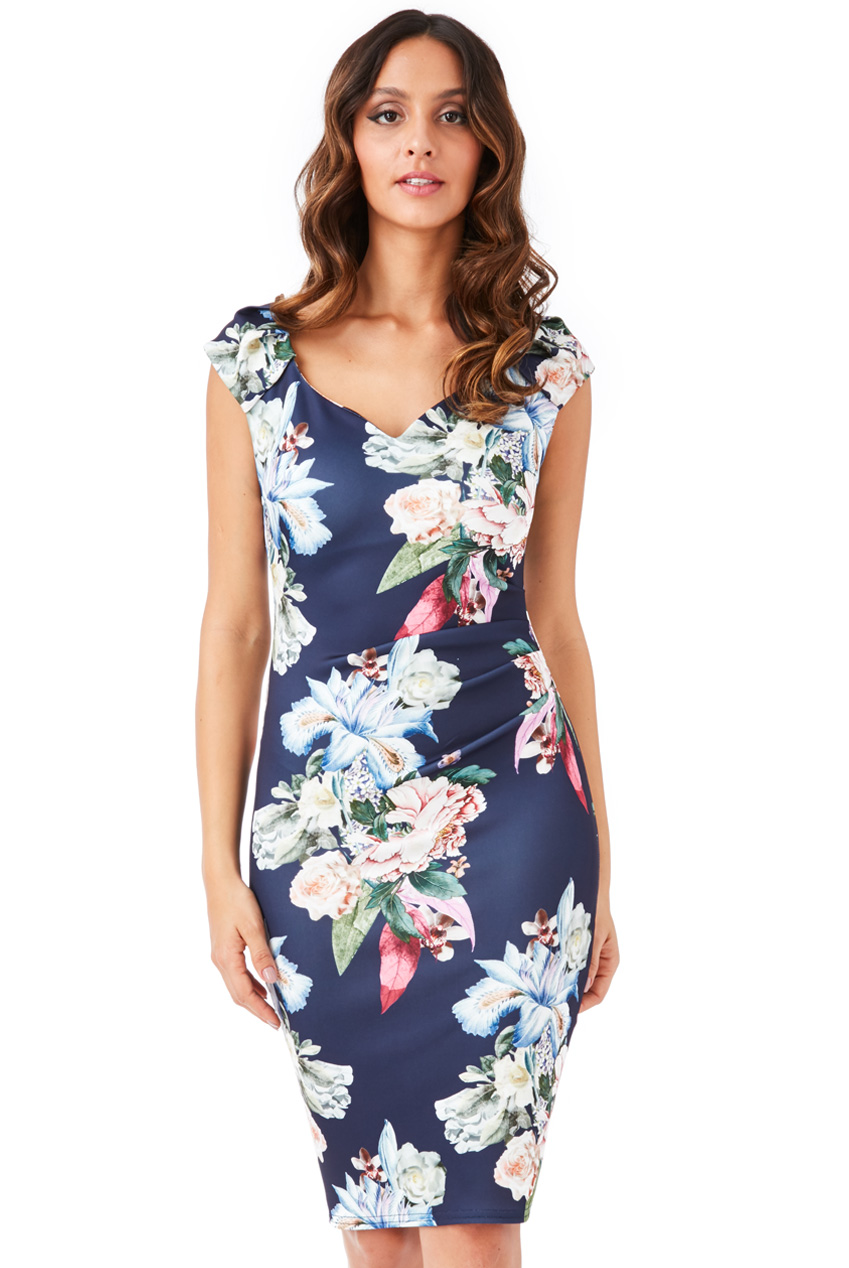 Wholesale Sweetheart Neckline Floral Midi Dress