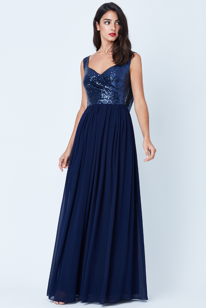 Wholesale Cowl Back Sequin and Chiffon Maxi Dress