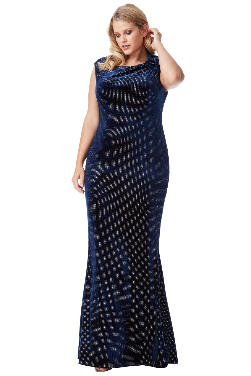 Wholesale Plus Size Glitter Velvet Maxi Dress with Bow Detail