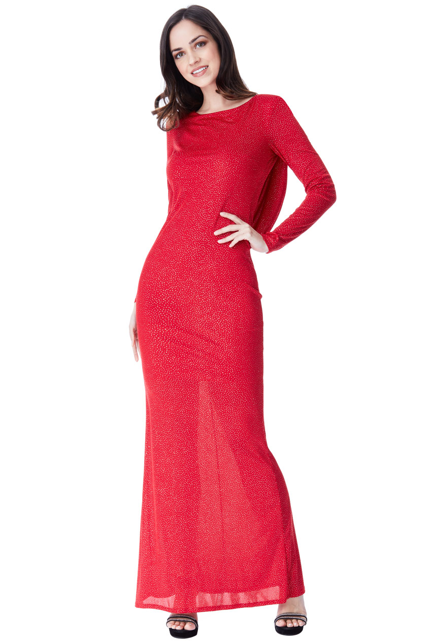 Wholesale Glitter Cowl Back Maxi Dress with Sleeves - City
