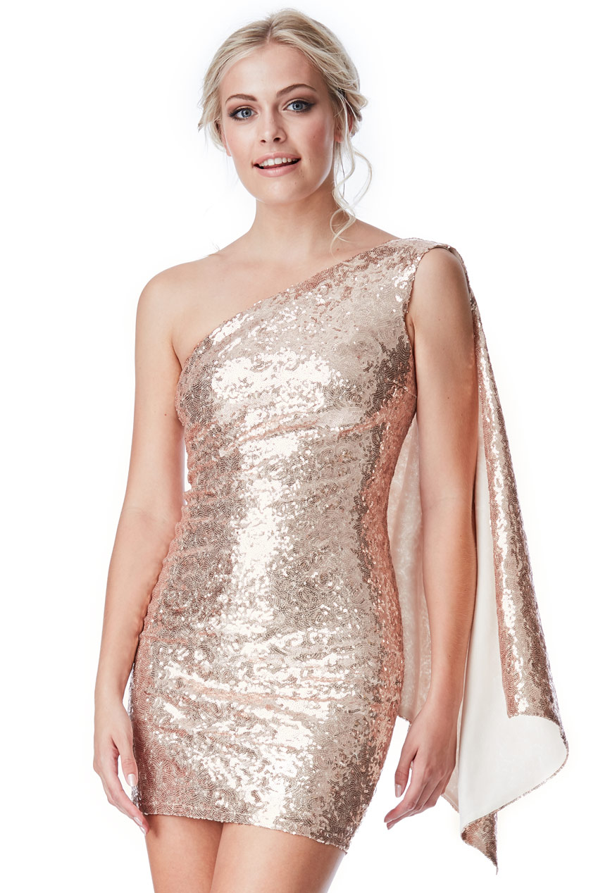 Wholesale One Shoulder Sequin Mini Dress with Cape Detail
