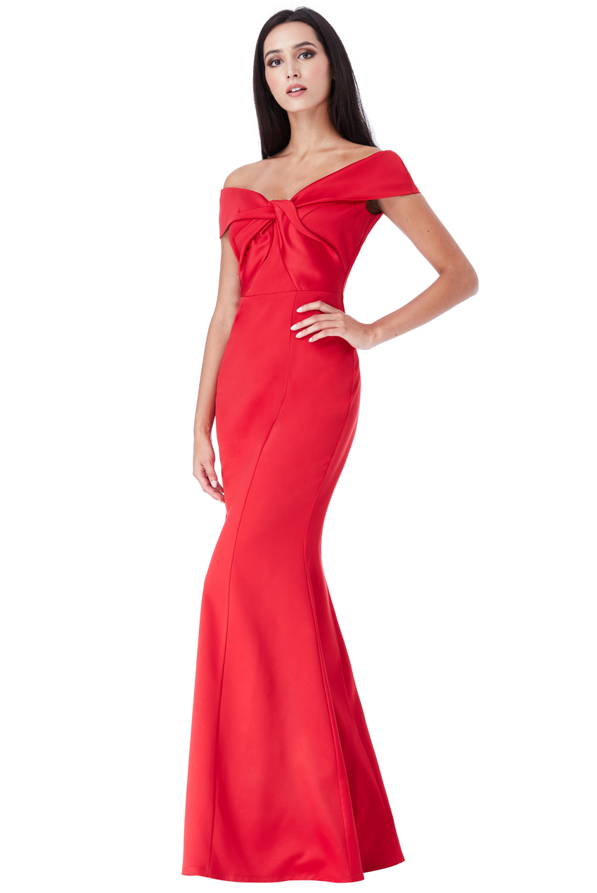 Wholesale Double Satin Bardot Maxi Dress with Twisted Neckline