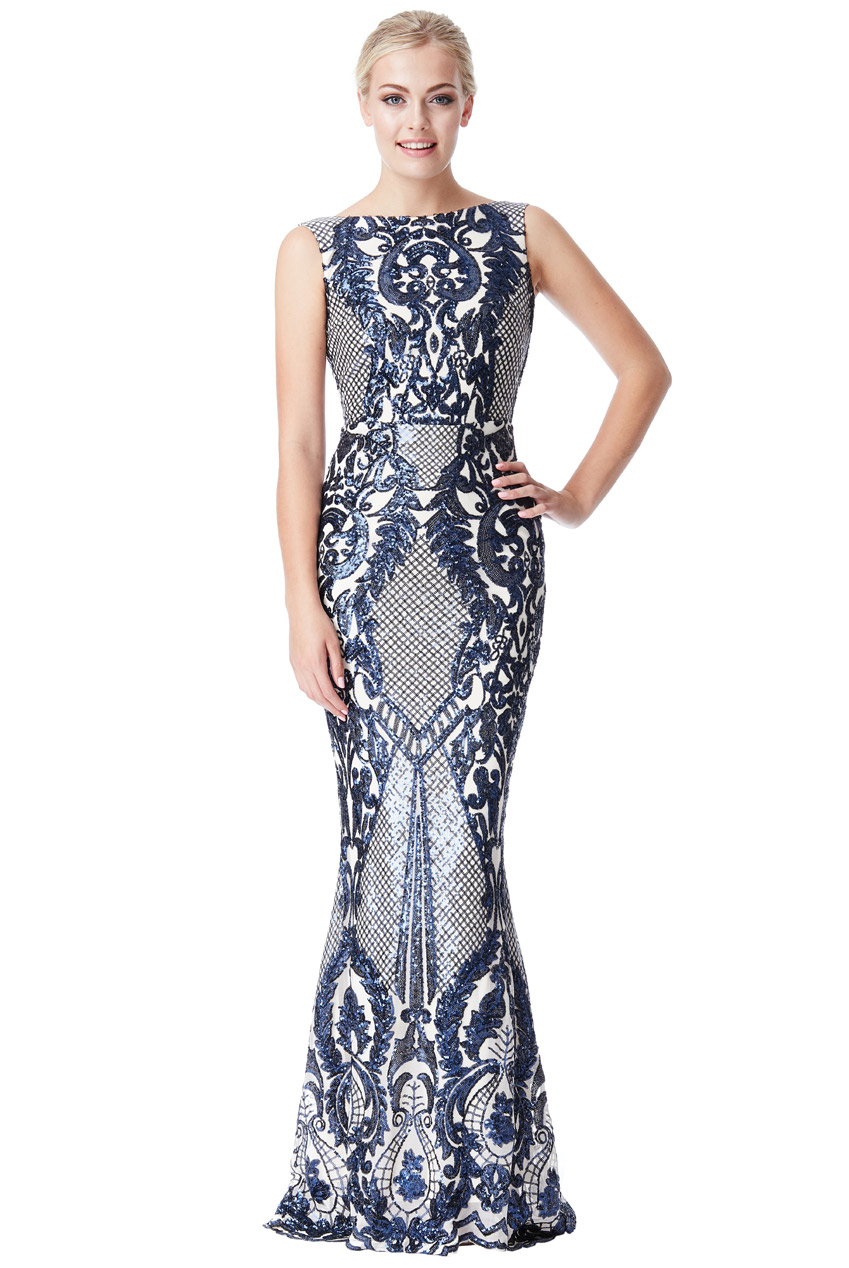 Wholesale Brocade Print Sequin Maxi Dress