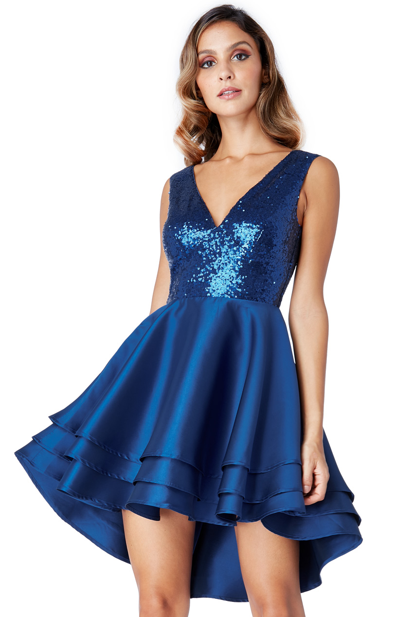 Wholesale Multilayered Sequin and Satin Skater Dress