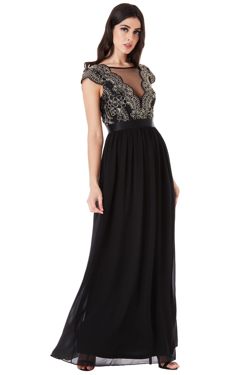 Wholesale Embroidered Bodice Maxi Dress with Cap Sleeves