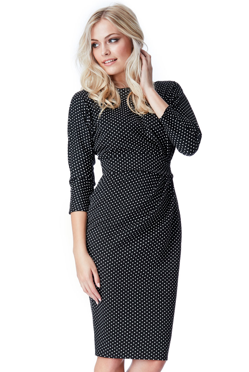 Wholesale Three Quarter Sleeved Polka Dot Midi Dress