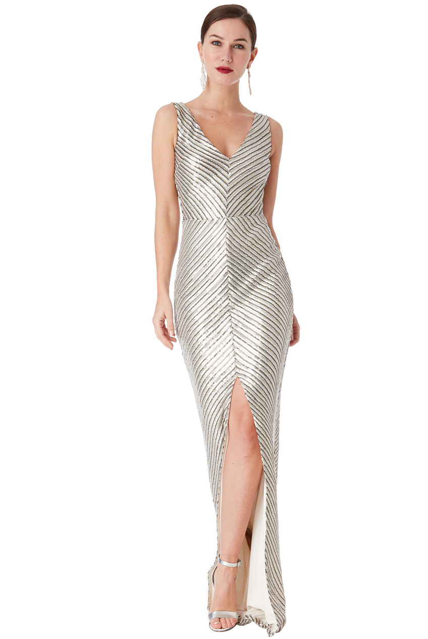 Wholesale Sequin Maxi Dress With Front Split