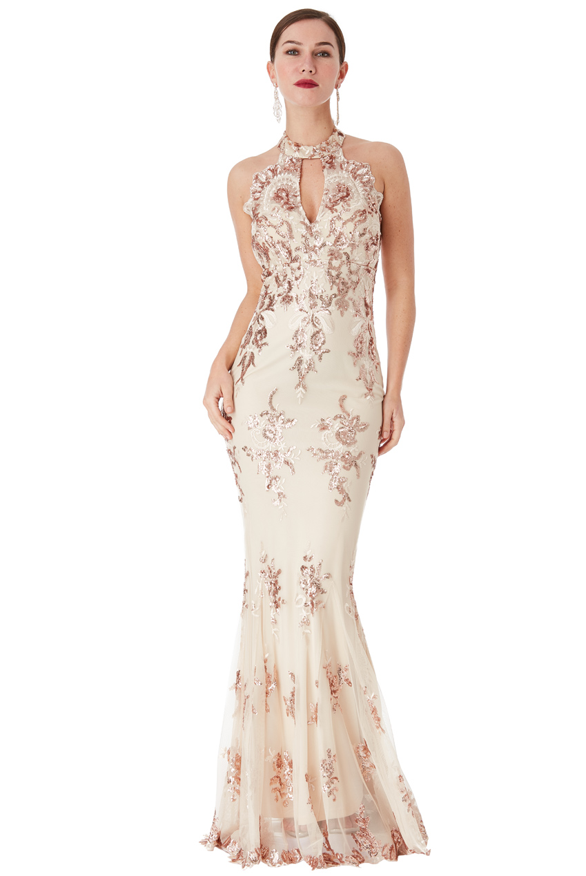 Wholesale Sequin Embroidered Halterneck Maxi Dress