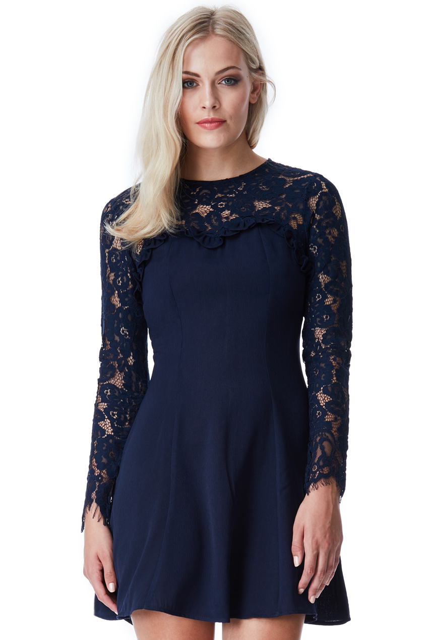 Wholesale Long Sleeved Lace Skater Dress