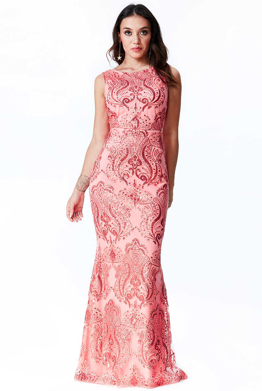 Wholesale Sleeveless Sequin Embroidered Maxi Dress